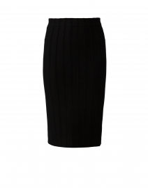 Black Ottoman Stitch Knit Pencil Skirt