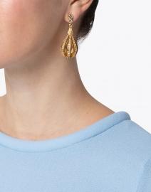 Oscar de la Renta - Gold Pale Encrusted Open Circle Drop Earrings