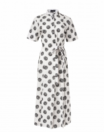 Black and White Large Dot Printed Stretch Cotton Dress
