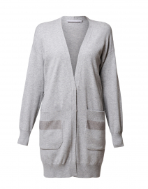Grey Knit Cardigan with Brilliant Trim