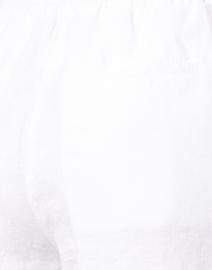 120% Lino - White Drawstring Cropped Linen Pant