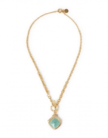 Turquoise Stoned Gold Pendant Necklace