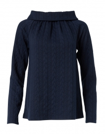 Navy Cable Knit Top