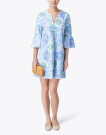 Jude Connally - Kerry Blue and White Mosaic Tile Printed Dress