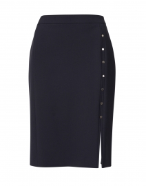 Vikilena Navy Crepe Pencil Skirt