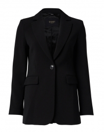 Black One Button Blazer with Flap Pockets