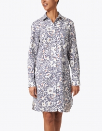 Finley - Alex White and Navy Floral Print Shirt Dress