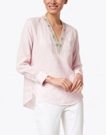 120% Lino - Soft Pink Linen Embellished Shirt
