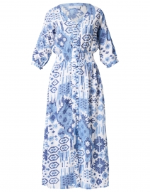 Kelsey Indigo Ikat Printed Dress