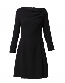Black Ruched Neck Dress