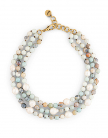 Amazonite and Pearl Triple Strand Necklace