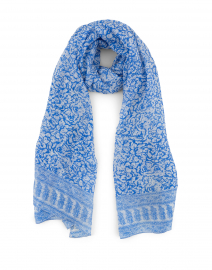 Blue and White Garden Floral Silk Scarf