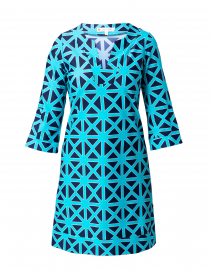 Megan Navy and Teal Diamond Geometric Dress