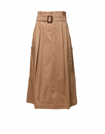 Brusson Camel Cotton Midi Skirt