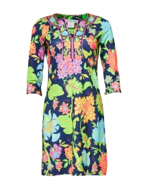 Navy Multicolored Floral Printed Jersey Dress