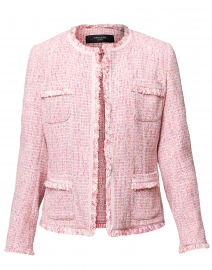 Tubo Pink Tweed Collarless Jacket