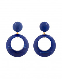 Ischia Blue Resin Drop Hoop Earrings