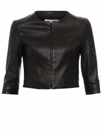 Black Stretch Leather Cropped Jacket