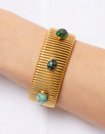 Gas Bijoux - Strada Turquoise and Green Gold Large Bracelet