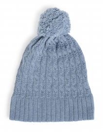 Harbor Blue Cable Pompom Cashmere Hat