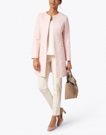 Helene Berman - Alice Pink and White Tweed Long Coat