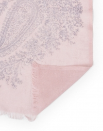 Pashma - Pink and Grey Paisley Printed Silk Cashmere Scarf