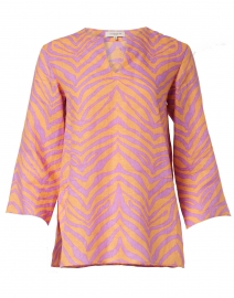 Hawley Pink and Orange Zebra Print Linen Blouse