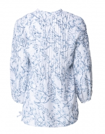 120% Lino - Blue and White Floral Print Linen Shirt