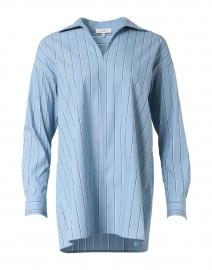 Bristol Blue Striped Stretch Cotton Popover Shirt