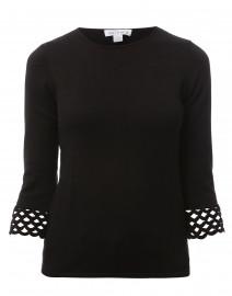 Black Crochet Trim Cotton Sweater