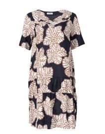 Navy Floral Print Linen Dress