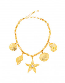 Gold Starfish and Seashell Charm Necklace