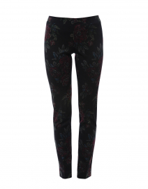 Charcoal Winter Floral Printed Compact Knit Pant