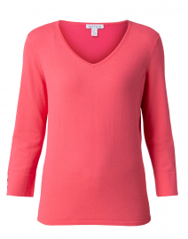 Flamingo Pink Cotton Button Cuff Sweater