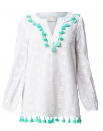 White Cotton Jacquard Tunic with Mint Tassels