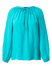 Payge Cyan Stretch Silk Blouse