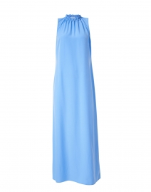 Marina Blue Poly Crepe Maxi Dress