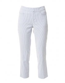Madison Blue and White Stripe Stretch Cotton Crop Pant