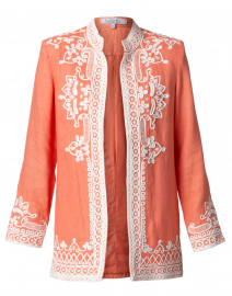 Ceci Coral Embroidered Linen Jacket