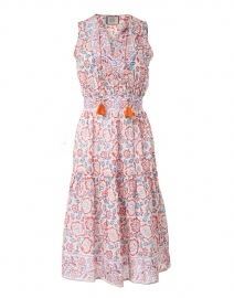 Emily Blue and Red Floral Cotton Silk Dress