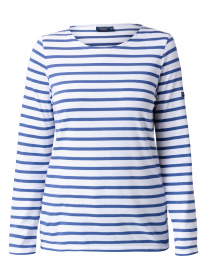 Minquidame White and Voyage Blue Striped Cotton Top