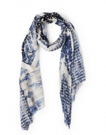 Navy and White Louvre Print Silk Cashmere Scarf