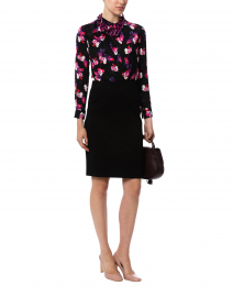 Ports International - Black and Pink Floral Stretch Silk Blouse