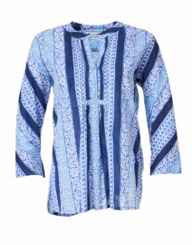 Arles Blue and White Barre Print Shirt