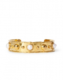 Pearl and Gold Studded Cuff Bracelet