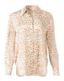 Chiffon Orange Carnation Print Silk Satin Blouse
