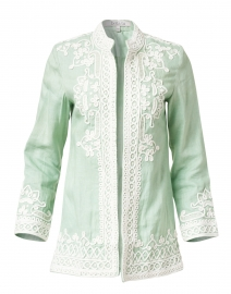 Ceci Mint Embroidered Linen Jacket