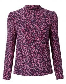 Diana Pink and Navy Leopard Silk Crepe Blouse