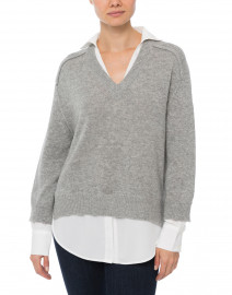 Brochu Walker - Dove Grey Sweater with White Underlayer