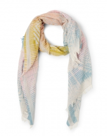 Diamond Pastel Multicolored Printed Intarsia Cotton Scarf